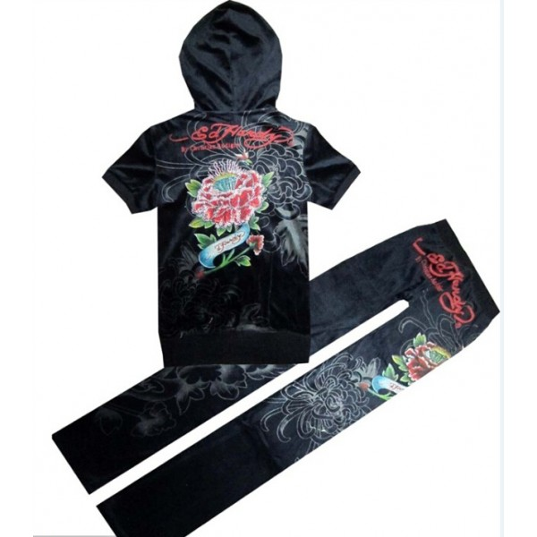 ED Hardy Short Suits Diamond Flowers Black For Women