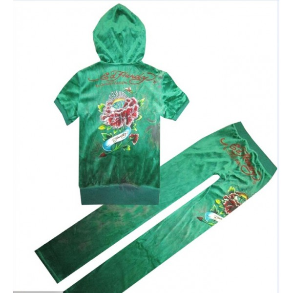 ED Hardy Short Suits Diamond Flowers Green For Women
