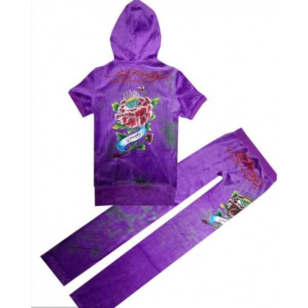 ED Hardy Short Suits Diamond Flowers Purple For Women