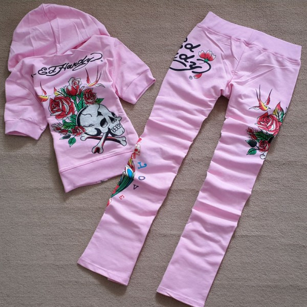 ED Hardy Short Suits Diamond Skull Love Pink For Women