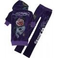 ED Hardy Short Suits Forever Rose Skull Purple For Women