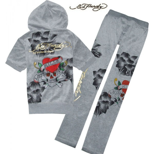 ED Hardy Short Suits Lotus Love Kill Slowly Grey For Women