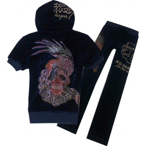 ED Hardy Short Suits Peacock Skull Black For Women