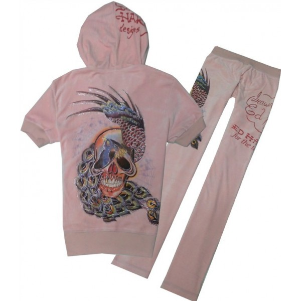 ED Hardy Short Suits Peacock Skull Pink For Women