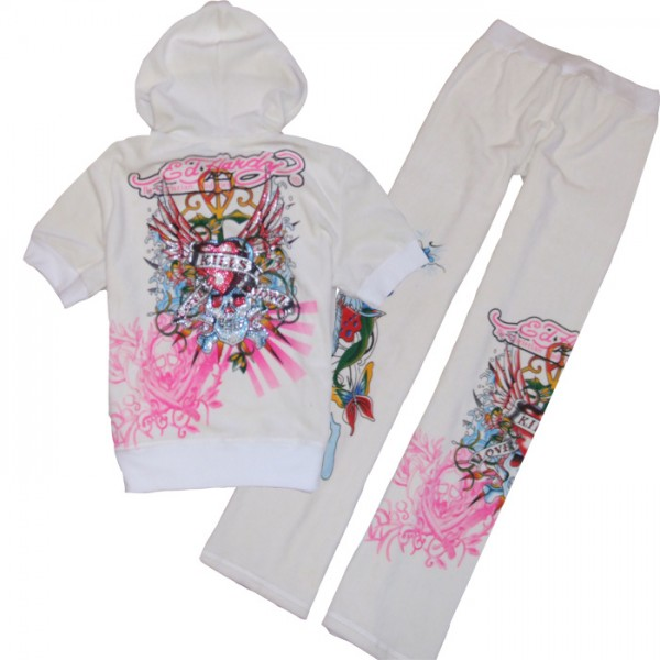 ED Hardy Short Suits White Love Kill Slowly Pink For Women