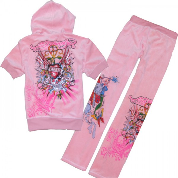 ED Hardy Short Suits Wings Love Kill Slowly Pink For Women