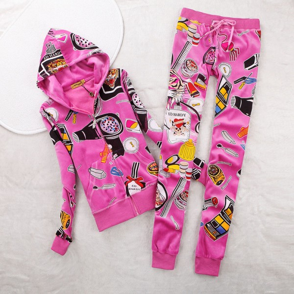 ED Hardy Womens Long Suits Accessories In Rose Red