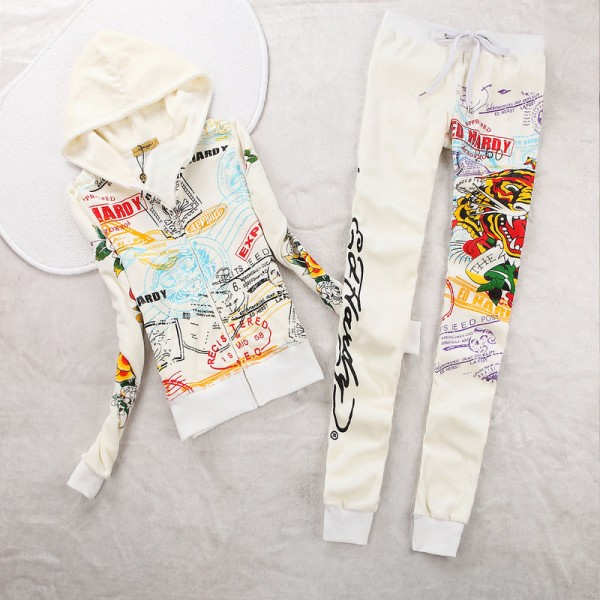 ED Hardy Womens Long Suits Tiger Express In White