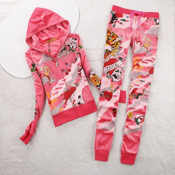 ED Hardy Womens Long Suits Tiger ZEKE In Rose Red