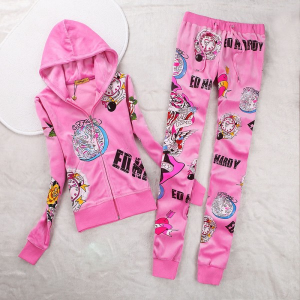 ED Hardy Womens Long Suits USMC Glory In Pink