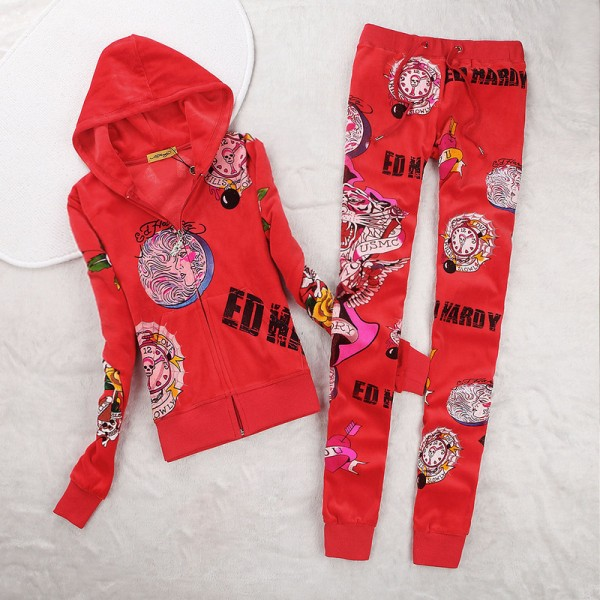 ED Hardy Womens Long Suits USMC Glory In Red