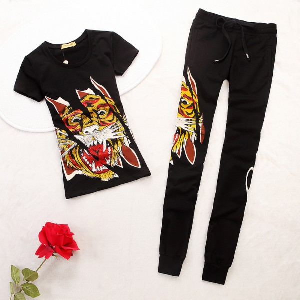 ED Hardy Womens Short Suits Classic Tiger In Black
