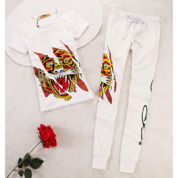 ED Hardy Womens Short Suits Classic Tiger In White