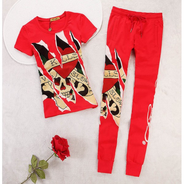 ED Hardy Womens Short Suits Love Kill Slowly In Red