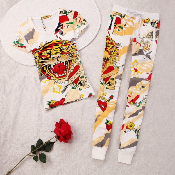 ED Hardy Womens Short Suits Tiger ZEKE In White