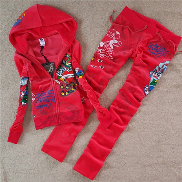 ED Hardy Womens Long Suits Peacock Love In Red