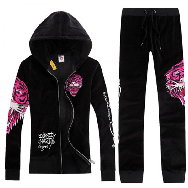 ED Hardy Womens Long Suits Rose Red Tiger Logo In Black