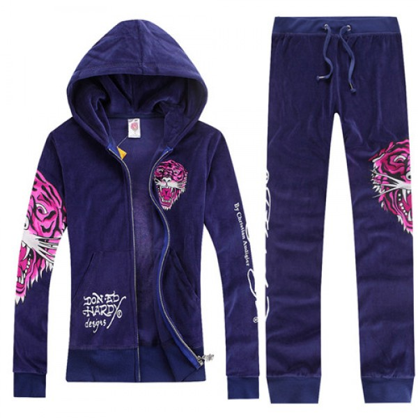 ED Hardy Womens Long Suits Rose Red Tiger Logo In Purple