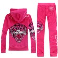 ED Hardy Womens Long Suits Rose Red Tiger Logo In Rose Red