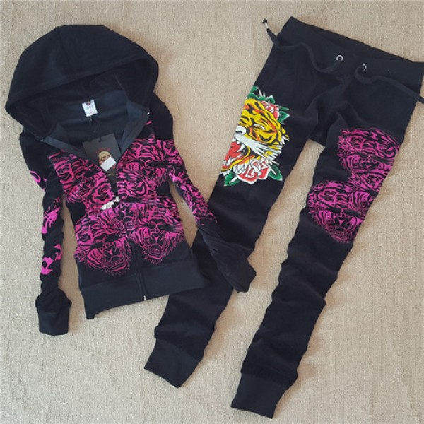 ED Hardy Womens Long Suits Tiger Logos Rose In Black