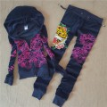 ED Hardy Womens Long Suits Tiger Logos Rose In Deep Blue