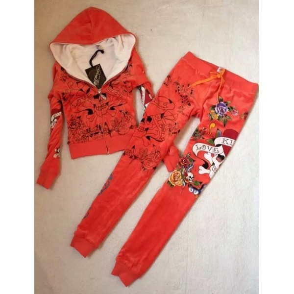 ED Hardy Womens Thick Long Suits Love Kill Slowly In Orange
