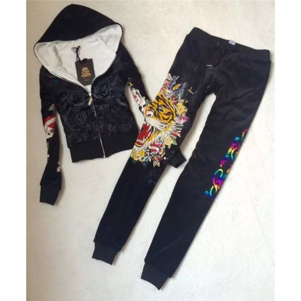 ED Hardy Womens Thick Long Suits Tiger Blend In Black