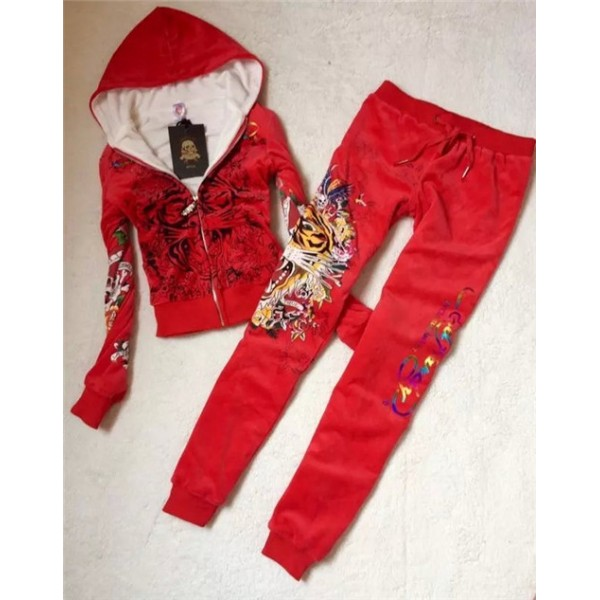 ED Hardy Womens Thick Long Suits Tiger Blend In Red