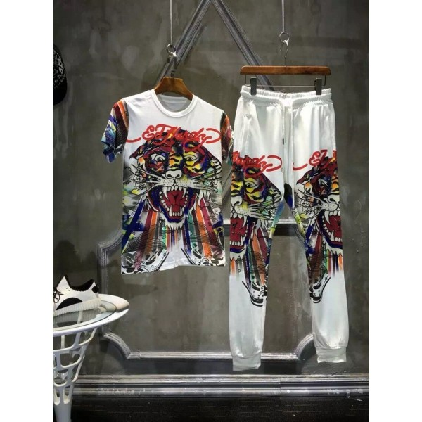 Ed Hardy Mens Short Suits Colorful Tiger In White