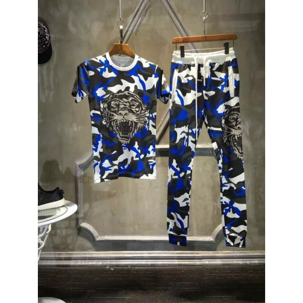 Ed Hardy Mens Short Suits Tiger In Blue Camouflage