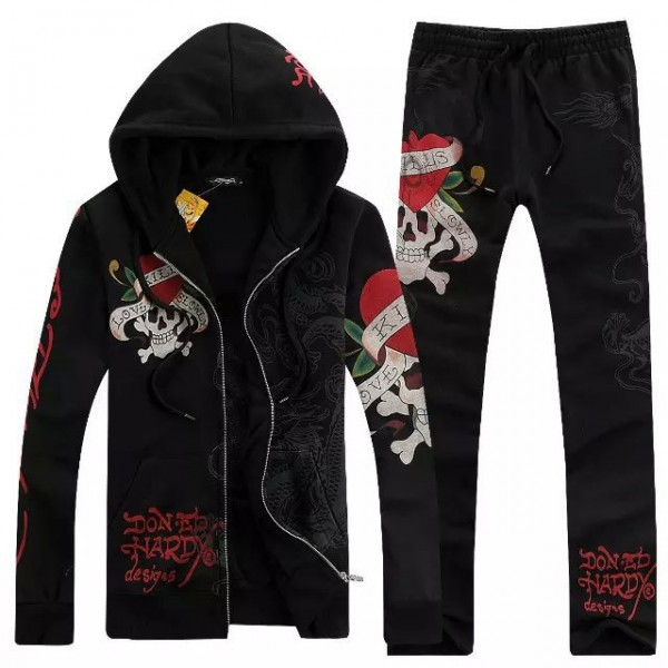 Ed Hardy Mens Suits Black Love Kill Slowly Dragon