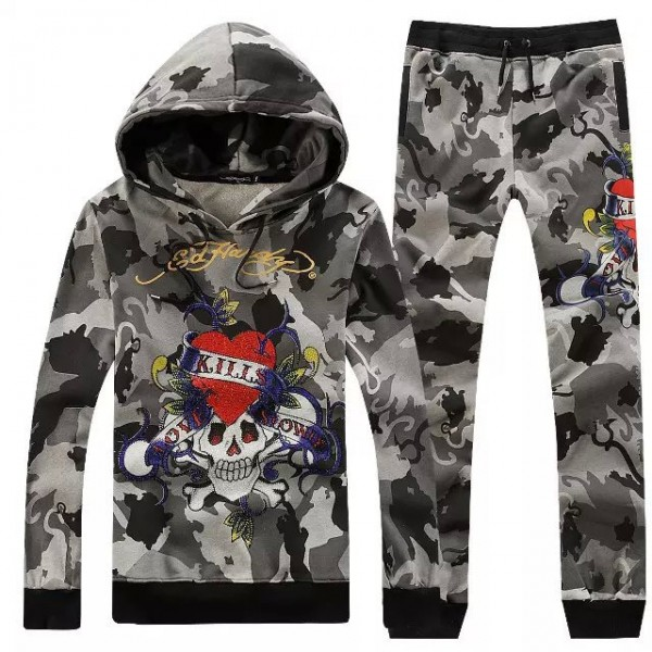 Ed Hardy Mens Suits Camouflage Love Kill Slowly Grey