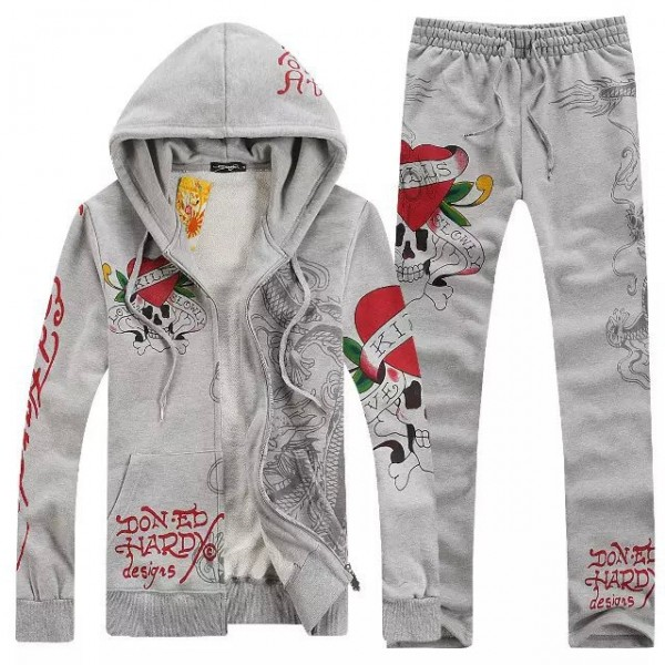 Ed Hardy Mens Suits Grey Love Kill Slowly Dragon