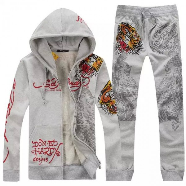 Ed Hardy Mens Suits Grey Love Kill Slowly Tiger Outlet
