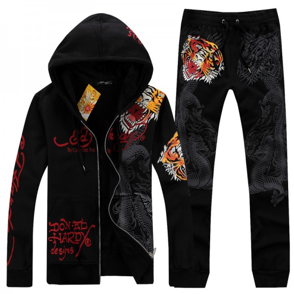 Mens ED Hardy Suits Black Love Kill Slowly Tiger Outlet