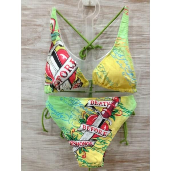 About Womens Ed Hardy Swimsuit Bikini Death Before Dishonor