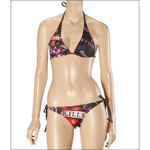 Black Ed Hardy Womens Swimsuit Bikini Love Kill Slowly UK