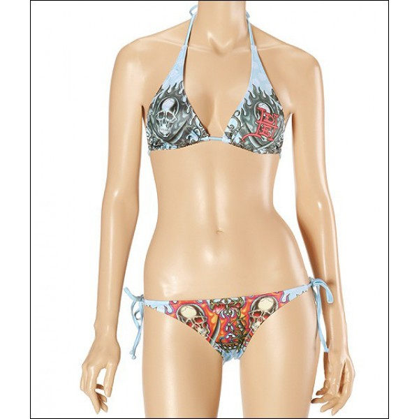 Blue Don Ed Hardy Womens Swimsuit Bikini Flame Skull