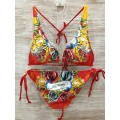 Don Ed Hardy Womens Swimsuit Bikini Rose Tiger Art