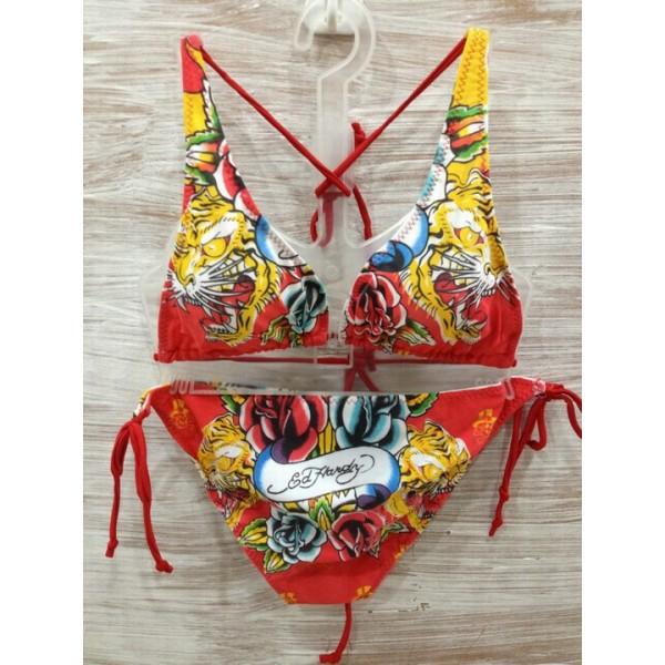 Don Ed Hardy Womens Swimsuit Bikini Rose Tiger Art