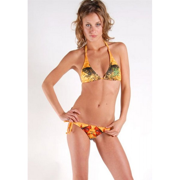 Ed Hardy Swimsuit Bikini Yellow Cyprinoid For Women