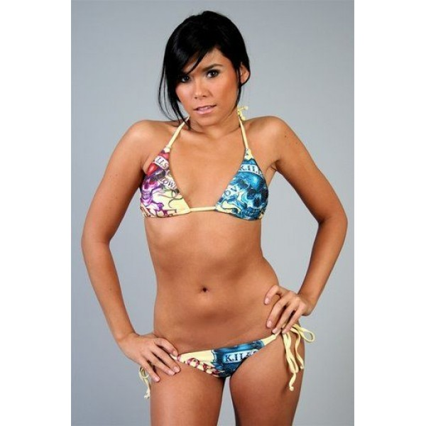 Ed Hardy Swimsuit Bikini Yellow LKS For Women