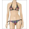 Ed Hardy Womens Swimsuit Bikini Purple Rose Tattoo Design