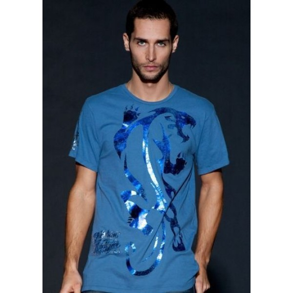 Blue Ed Hardy Shop UK Mens T Shirts For Sale Leopard