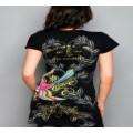 Christian Audigier T Shirts Birds Black For Women