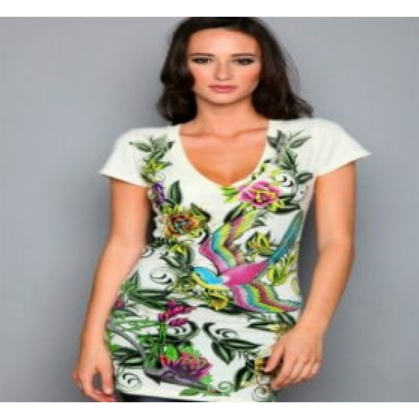 Christian Audigier T Shirts Birds Green For Women