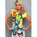 Christian Audigier T Shirts Butterfly Yellow For Women