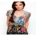 Christian Audigier T Shirts CA Rose Grey For Women