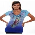 Christian Audigier T Shirts Cyprinoid Blue For Women