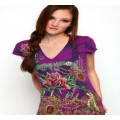 Christian Audigier T Shirts Rose Purple For Women